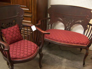 Antique Settee and Armchair