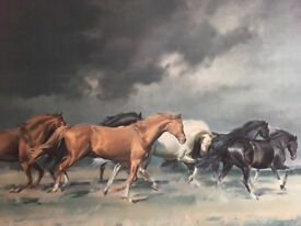 Beautiful painting of horses galloping in stylish frame