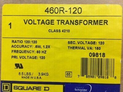 New In Box Square D 460r-120 Line To Line Voltage Transformer Ratio 120120