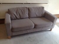 Comfortable beige 2 seater sofa vgc