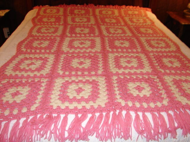Handmade Handcrafted Crochet Heirloom Granny Square Pink Afghan Throw