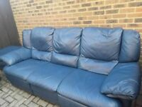 ITALIAN LEATHER BLUE 3 SEATER + 2 SEATER + FOOTSTALL SOFAS BY JOHN LEWIS. CHEAP!! MUST SEE!!!