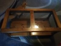 Pine coffee table & glass panels