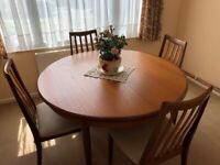 'G' Plan extending dining table + chairs