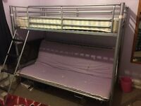 Triple Bunk Beds great condition - silver colour dismantled and ready to go £60 ovno