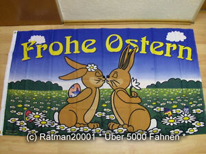 Fahnen Flagge Frohe Ostern Hasen - 90 x 150 cm