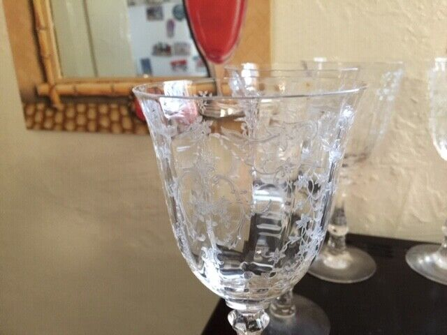 "9 Fostoria Navarre 7 5/8"" Water /Wine Crystal Clear Glasses"