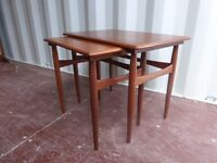 2x Retro vintage danish style nest of two tables,teak, £60 each set