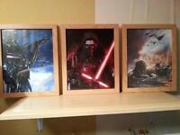 star wars framed pictures x 3 ( 3)