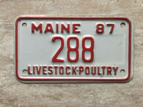 1987 Maine Livestock-Poultry License Plate #288 (Motorcycle Size) RARE!