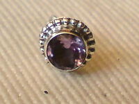 Single Sterling Silver 8mm Round Stud Earringwithamethyst Faceted Stone £4.50nwt -  - ebay.co.uk