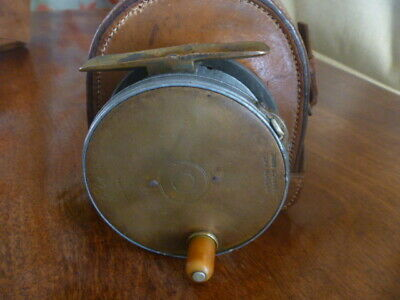 """A rare Hardy's 31/2"""" brass face Perfect Fly Reel c.1906 + Block leather case"""