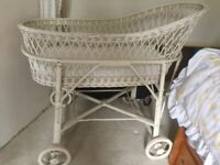 Vintage French Cane Wicker Rattan Baby Crib Cot Basket Removable Wheels