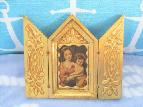Vintage Gold Gesso Wood Italian Tole Florentine Baby Jesus Madonna Triptych Icon