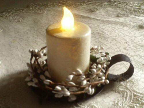 NEW RUSTIC WHITE Timer Pillar Candle & WHITE Pip Ring Black Iron Pan Set Cottage
