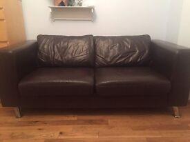 Dark brown leather sofa £50