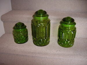 LE SMITH GLASS CANISTERS SET 3PCE VINTAGE 60'S