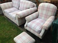 Laura Ashley 2 seat sofa with armchair and footstool