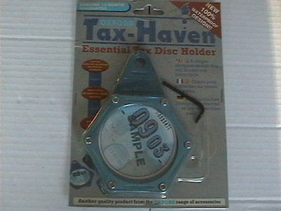 OXFORD TAX HAVEN BLUE ALUMINIUM DISC PARKING PERMIT LICENCE HOLDER WATERPROOF