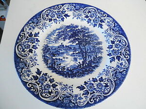 FOUR BLUE & WHITE STAFFORDSHIRE  DINNER PLATES