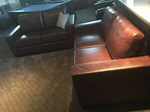 brown leather apartment size couch