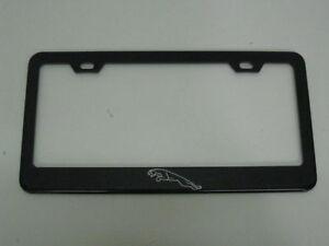 JAGUAR *LOGO* BLACK Metal License Plate Frame Tag Holder with Caps