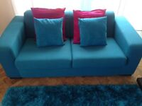 Immaculate 2 seater teal sofa