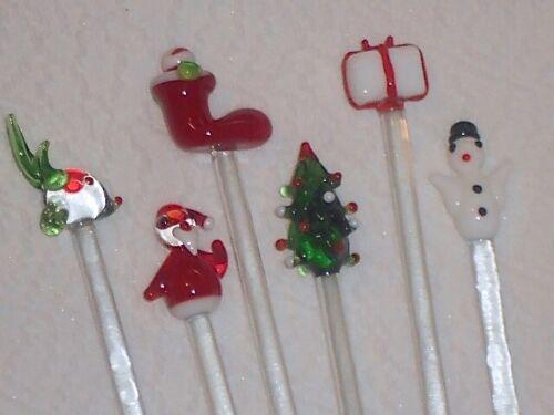 6 Glass Christmas SWIZZLE Stir Sticks