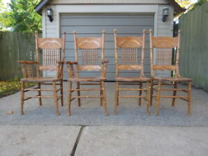 SET OF 4 OAK PRESS BACK CHAIRS