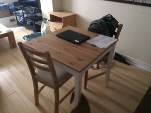 IKEA Dining Table and Two Chairs - LERHAMN
