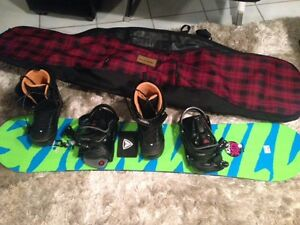 Snowboard and bindings - PLUS 2 sets of boots.