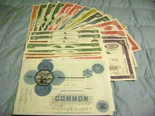 Lot of 25 Stock Certificates& bonds  At least 10 different varieties Blue/White