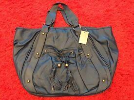 New - Nicole Faux Leather Handbag - Navy