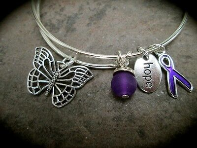 Lupus Or Alzheimers Awareness Adjustable Wire Bangle Bracelet Purple Ribbon
