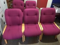 5 Pink fabric reception chairs