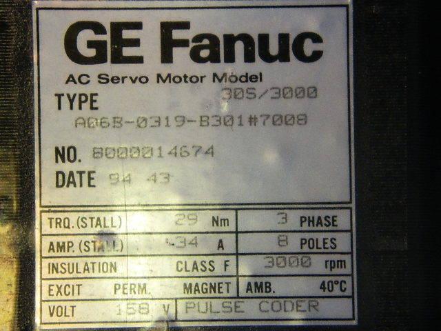 GE FANUC SERVO MOTOR A06B-0319-B301 #7008 NEW W/ 3 M WARRANTY