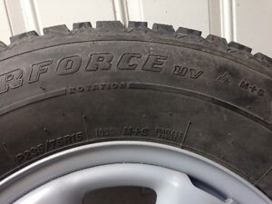 "15"" Studded WinterForce tires on BRAND NEW steel rims"