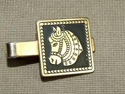 Vintage Art Deco Swank Equestrian Gold Tone & Black Enamel Horse Tie Clip