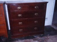 ART NOUVEAU MAHOGANY CHEST OF DRAWERS