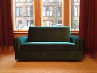 Small Vintage Style Teal Green Velvet Sofa Bed