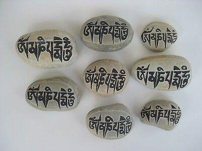 Tibetan Prayer Stone ~ Small mantra carving, Om mani padme hum, Buddhas eyes
