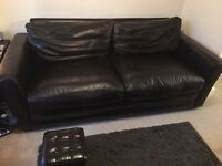 Three seat sofa bed, two seat sofa and small stool Italian custom leather with down in cushions