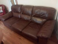 Brown Leather 3 Seater Sofa Suite Couch for Quick Sale