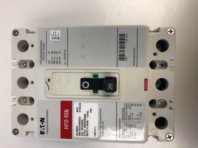 Eaton HFD3020L 20 amp industrial circuit breakers Series C 600 vac