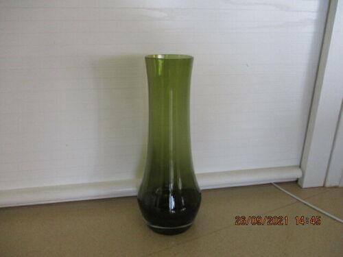 Vintage MCM Scandinavian 26cm Tall Olive Green  Glass Vase in Oil Lamp Style