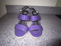Purple Wedge Sandals Size 4 Wide Fitting