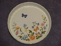 Decorative china flan dish - oven to tableware