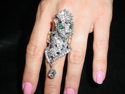 Green Eyed Cheetah Queen W. Teardrop Crystal Stretch Ring -FAST SHIPING