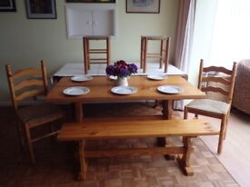 Pine Table with 2 stools 2 Chairs and Bench. PRICE REDUCED