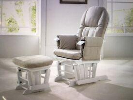 Tutti Bambini white Glider nursing chair + matching footstool